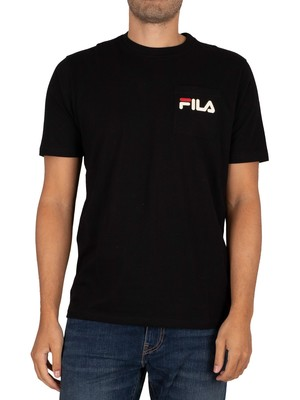Fila Curtis Pocket T-Shirt - Black/Turt Dove/ Red