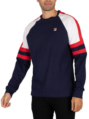 Fila Mekong Longsleeved T-Shirt - Peacoat/Red/White
