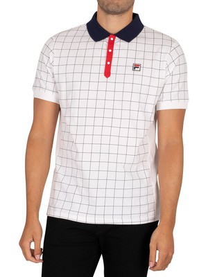 Fila Nile Polo Shirt - White/Peacoat/Red
