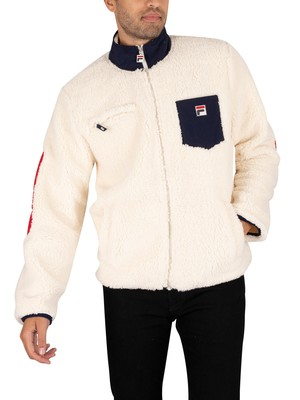Fila Token Sherpa Jacket - Turt Dove/Peacoat/Red