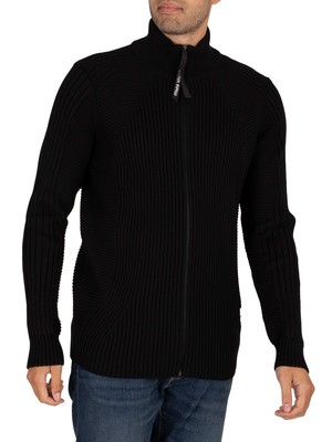 G-Star 3D Biker Zip Thru Knit - Dark Black