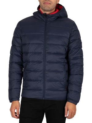 Jack & Jones Magic Hooded Puffer Jacket - Navy Blazer