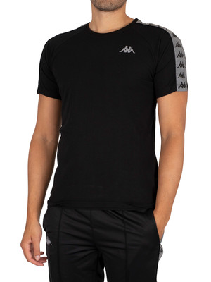 Kappa 222 Banda Michael Slim T-Shirt - Black/Grey Reflective