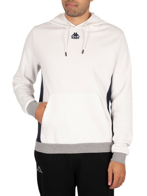 Kappa Igname Slim Pullover Hoodie - White Natural/Navy Grey Cold Mel