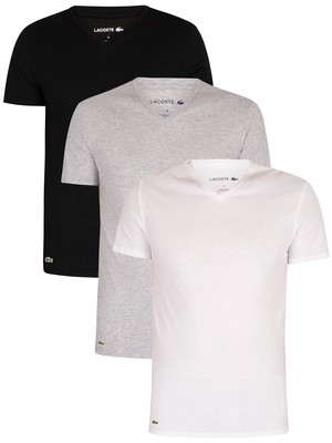 Lacoste Essentials Lounge 3 Pack Slim V-Neck T-Shirts - White/Grey/Black