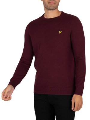 Lyle & Scott Cotton Merino Crew Knit - Burgundy