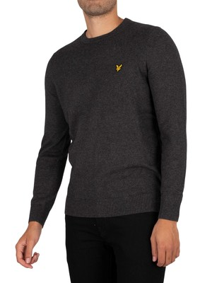 Lyle & Scott Cotton Merino Crew Knit - Charcoal Marl