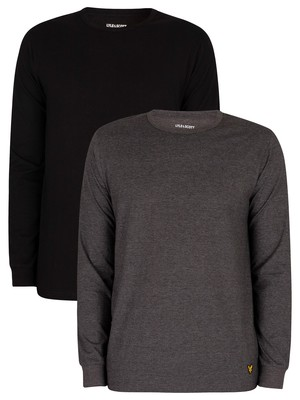 Lyle & Scott Kane Lounge 2 Pack Longsleeved T-Shirts - Black/Dark Grey