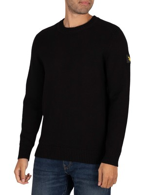 Lyle & Scott Shoulder Detail Crew Knit - Jet Black