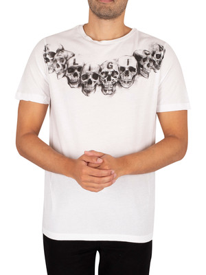 Religion Necklace Skull T-Shirt - White