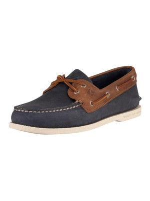 Sperry Top-Sider 2-Eye Leather Boat Shoes - Navy/Brown