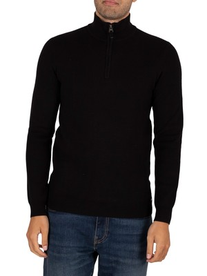 Superdry Orange Label Henley Zip Sweatshirt - Black