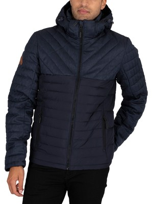 Superdry Tweed Mix Fuji Jacket - Navy Herringbone