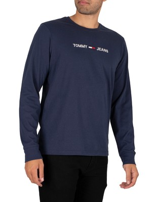 Tommy Jeans Longsleeved Straight Logo T-Shirt - Twilight Navy
