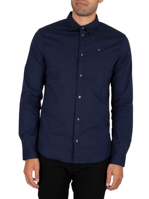 Tommy Jeans Original Stretch Slim Shirt - Black Iris Navy