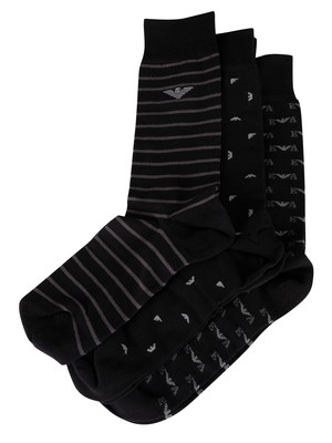 Emporio Armani 3 Pack Short Socks - Nero/Perla