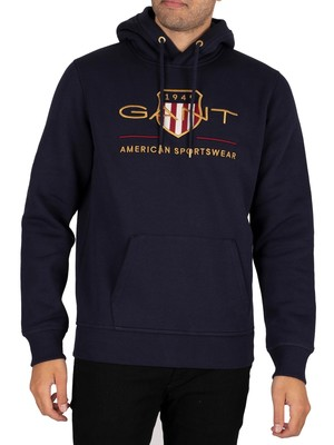 GANT Archive Shield Pullover Hoodie - Evening Blue