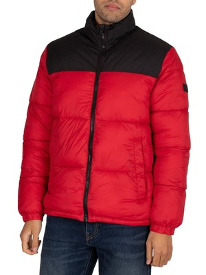 Jack & Jones Drew Puffer Collar Jacket - Tango Red