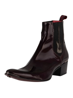 Jeffery West Chelsea Leather Boots - Burgundy Metal Patent