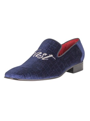 Jeffery West Live Fast Die Young Velvet Loafers - Dark Blue