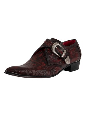 Jeffery West Monk Polished Leather Shoes - Red