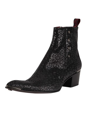 Jeffery West Zip Chelsea Leather Boots - Black Leopard Print