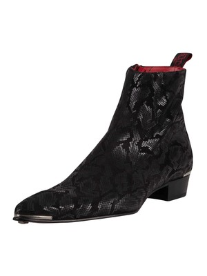 Jeffery West Zip Chelsea Leather Boots - Black Kala Snake