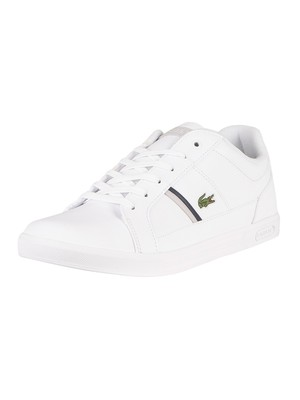 Lacoste Europa 0120 1 SMA Leather Trainers - White/Grey