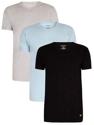 Lyle & Scott Maxwell Lounge 3 Pack Crew T-Shirts - Black/Light Grey Marl/Angel Falls