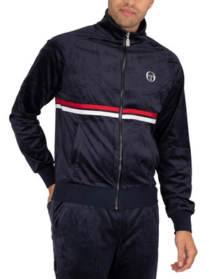 Sergio Tacchini Dallas Velour Track Jacket - Navy/White