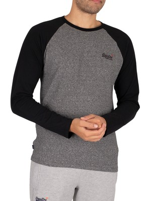 Superdry Baseball Longsleeved T-Shirt - Karst Black Mega Grit
