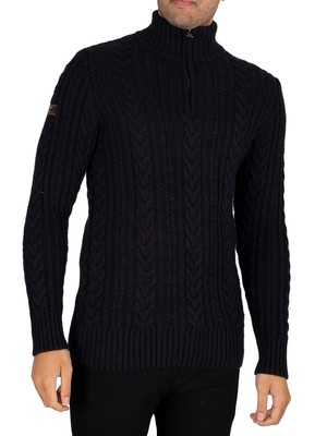 Superdry Jacob Henley Zip Knit - Downhill Navy