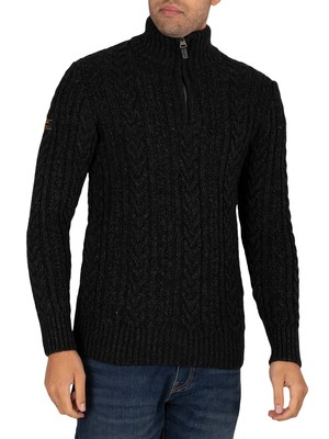 Superdry Jacob Henley Zip Knit - Magma Black Twist