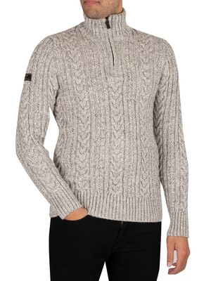 Superdry Jacob Henley Zip Knit - Concrete Twist
