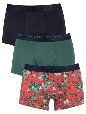 Ted Baker 3 Pack Fitted Trunks - Tropical/Mallard Green/Sky Captain