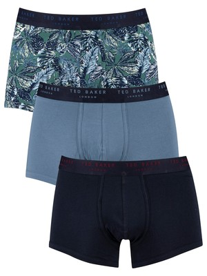 Ted Baker 3 Pack Fitted Trunks - Mallard Palm/Captains Blue/Sky Captain