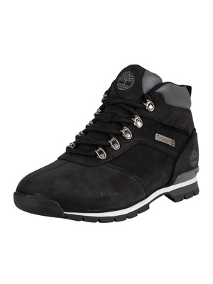 Timberland Splitrock Mid Hiker Leather Boots - Black Nubuck