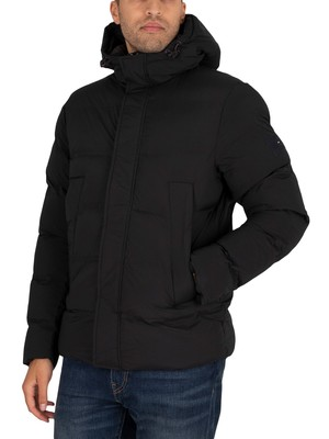 Tommy Hilfiger Hooded Stretch Bomber Jacket - Black