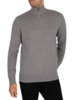 Tommy Hilfiger Pima Cotton Cashmere Zip Mock Knit - Dark Grey Heather