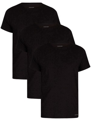 Calvin Klein 3 Pack Lounge Crew T-Shirts - Black