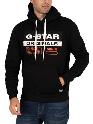 G-Star Colour Block Originals Logo Pullover Hoodie - Dark Black