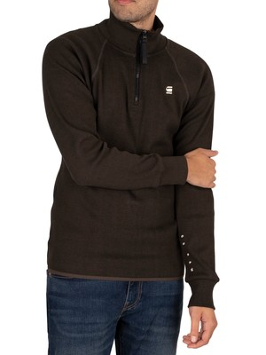 G-Star Plated Rib Half Zip Jirgi Sweatshirt - Asfalt/Dark Black