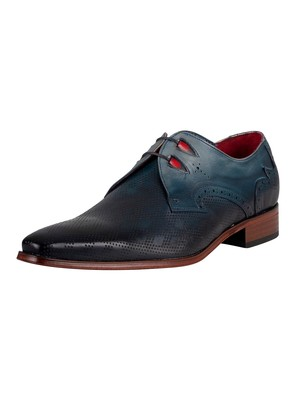 Jeffery West Brogue Derby Leather Shoes - Water