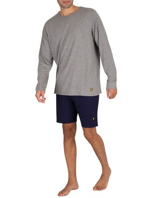 Lyle & Scott Hugo Longsleeved Pyjama Set - Grey/Navy