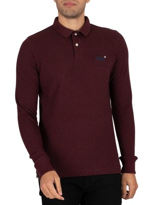 Superdry Longsleeved Classic Pique Polo Shirt - Deepest Burgundy Grit