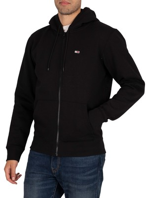 Tommy Jeans Regular Fleece Zip Hoodie - Black