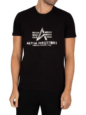 Alpha Industries Basic Foil Print T-Shirt - Black/Metal Silver
