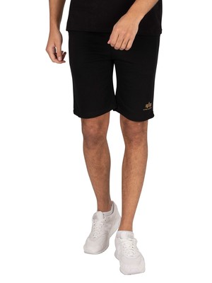 Alpha Industries Basic SL Foil Print Sweat Shorts - Black/Yellow Gold