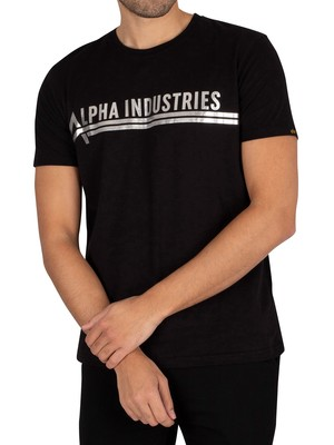 Alpha Industries Foil Print T-Shirt - Black/Metal Silver