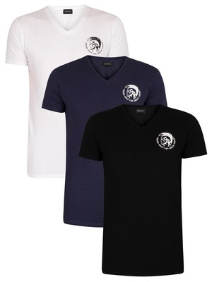 Diesel 3 Pack Michael Lounge V-Neck T-Shirts - Black/Blue/White